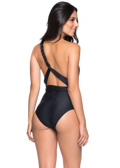 Black multi-position one-piece swimsuit - DEEP V PRETO