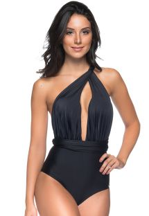 Black multi-position one-piece swimsuit - DEEP V PRETO
