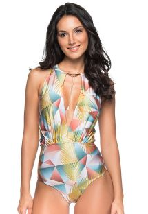 Jewelry plunging swimsuit in a pastel geometric print - GARGANTILHA GEOMETRIC ART