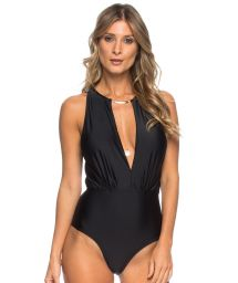Black one-piece plunging neckline with necklace detail - GARGANTILHA PRETO
