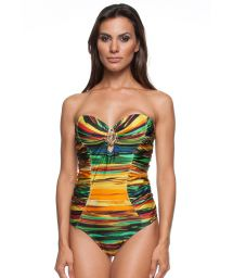 A one-piece bandeau swimsuit with a multicoloured print - GRACE PINTURA