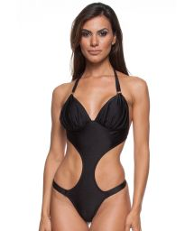 Brazilian trikini in a black satin finish fabric - GRACE PRETO