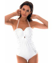 White bustier one-piece swimsuit with satin fabric - GRACE WHITE