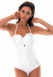 Bañador 1 pieza bustier blanco tejido saten - GRACE WHITE