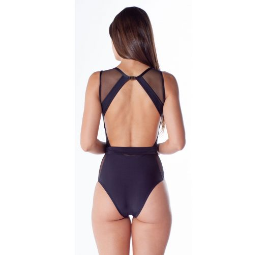 Black bi-material high-neck one-piece swimsuit - LUA DECOTE TULE PRETO