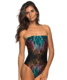 One-piece bandeau swimsuit black and colourful corals  - MAIO CORAL PRETO
