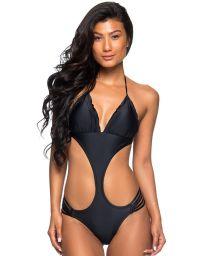 Black strappy Brazilian monokini - MAIO CORTININHA PRETO
