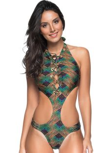 Brazilian monokini with eyelets and green/copper print - MAIO DRAPE ILHOS METALLIC