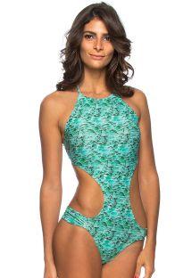 בגד ים בסגנון טריקיני צווארון גבוה עם הדפס כחול - MAIO ENGANA AQUA