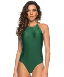 Green one-piece swimsuit with high neckline and open back - MAIO FRENTE ALGA