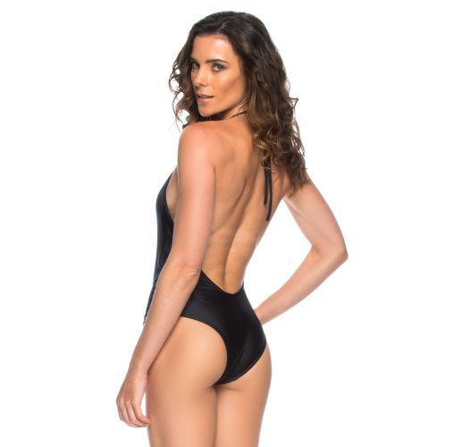 Kokonainen musta uimapuku, korkea pääntie ja paljas selkä - MAIO FRENTE PRETO