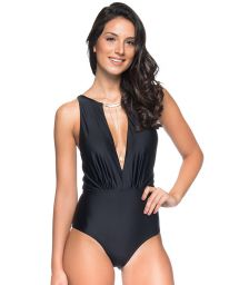 Jewelry plunging black swimsuit - MAIO GARGANTILHA PRETO
