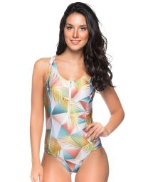 Pastel swimsuit with a zipper and transparent back - MAIO GEOMETRIC ART