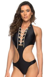 Black trikini with plunging lace-up neckline and eyelet detail - MAIO ILHOS PRETO