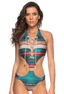 בגד ים בסגנון טריקיני מודפס, מחשוף עם שרוכים, מעוטר בעיניות - MAIO ILHOS TAPECARIA