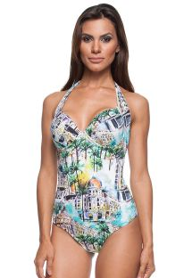A printed 1-piece swimsuit with underwiring - MAIO LETOH