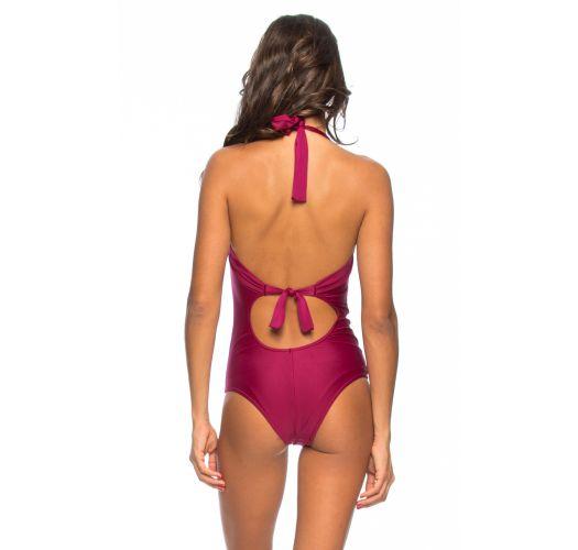 Hel badedrakt, mørk rosa, kopper og spiler - MAIO SEA FAN