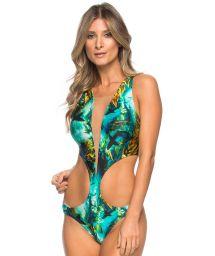 Printed trikini with tulle plunging neckline - MAIO TULE SHARKS