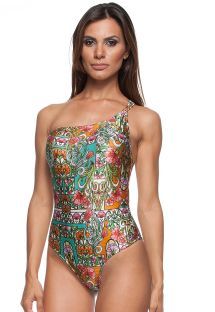 1 piece asymmetrical colour printed swimsuit - OMBRO ART