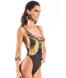 1 piece printed plunge side string swimsuit - PAISSANDU