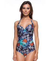 A 1-piece printed balconnet swimsuit with underwire - RIVA ALCA