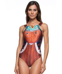 A 1-piece swimsuit with a high neckline and a collar - RIVA FRANCESA