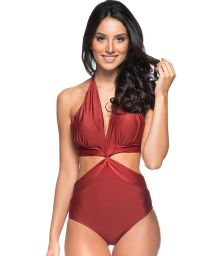 Red Brazilian monokini twisted effect - SICILIA EBANO
