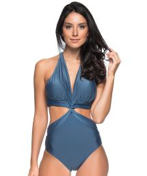 Dark blue Brazilian monokini twisted effect - SICILIA ELEGANCE