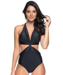 Black trikini with twisted effect - SICILIA PRETO