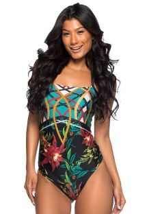 Bandeau one-piece swimsuit in colorful print - TQC LOCALIZADO MOSAIC