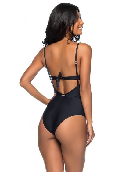1 piece black padded swimsuit with strappy effect - TRONCADO PRETO
