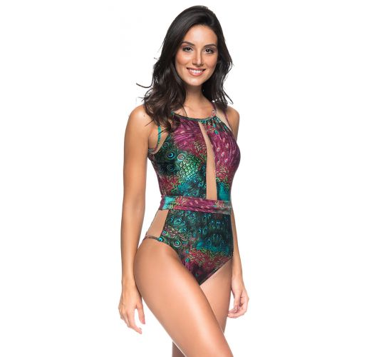 Peacock printed one-piece swimsuit transparent neckline - TULE VOLERY