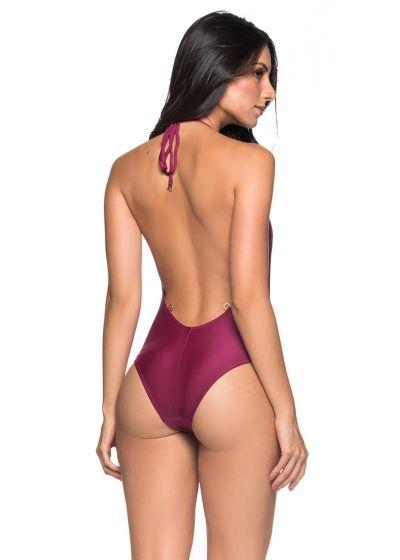 Vinröd höghalsad hel baddräkt med naken rygg - UNICA CERISIER