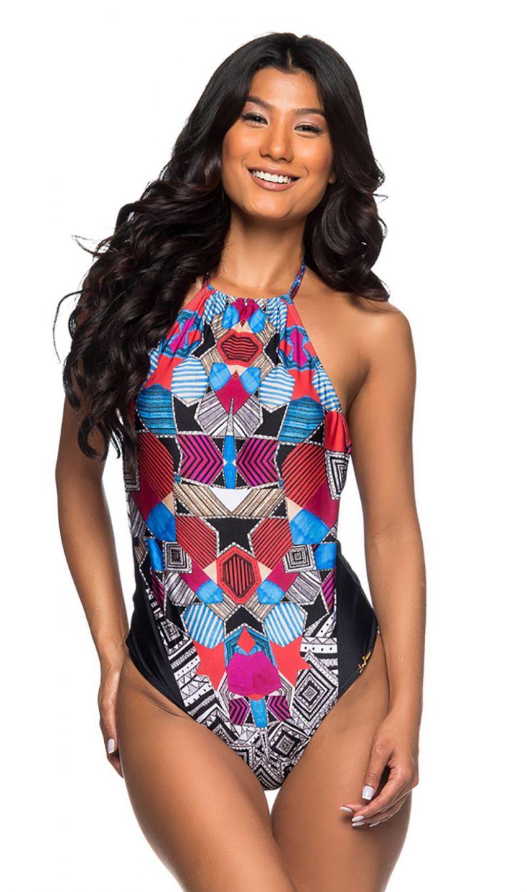 High-neck one-piece swimsuit in colorful geometric print - UNICA LOCALIZADO ART DECO
