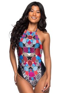 High-neck one-piece swimsuit in colorful geometric print - UNICA LOCALIZADO ART DECO
