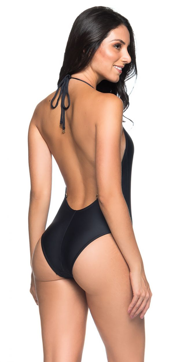 Black high-neckline one-piece swimsuit with open back - UNICA PRETO