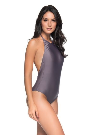 Grey high-neck one-piece swimsuit naked back - UNICA VINTAGE