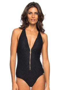 Zipped one-piece swimsuit in black lace - ZIPER RENDA PRETO