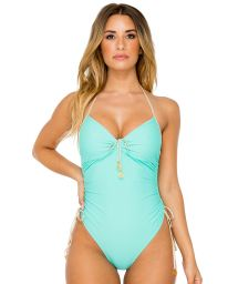 Turquoise green 1 piece adjustable sides - AGUA DULCE HIGH LEG ONE PIECE