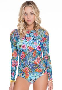Blue floral one-piece long-sleeved swimsuit - ARTICO