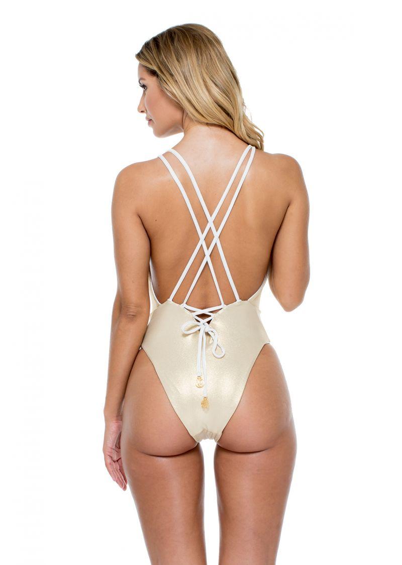 White/gold reversible one-piece swimsuit plunging neckline - HAVANA WHITE REVERSIBLE