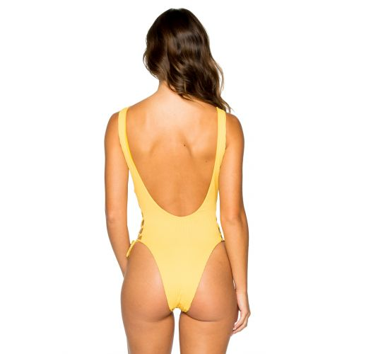 Yellow one-pice swimsuit with laced V neckline - INTERLACED BANANA COSTA DEL SOL