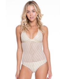 Shiny white/gold 1-piece mesh swimsuit - RAINHA DO DESERTO