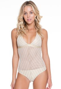 Shiny white/gold 1-piece mesh swimsuit - RAINHA DO DESERTO