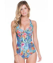 Blue floral racerback one-piece swimsuit - VENUS