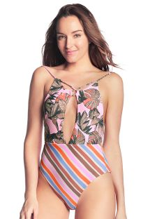 Colorful deep neckline swimsuit in mixed print - COR DE ROSA