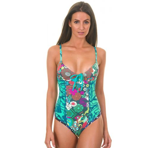 Цял бански с тропически мотиви, многоцветен - HIPIC FLIRTY