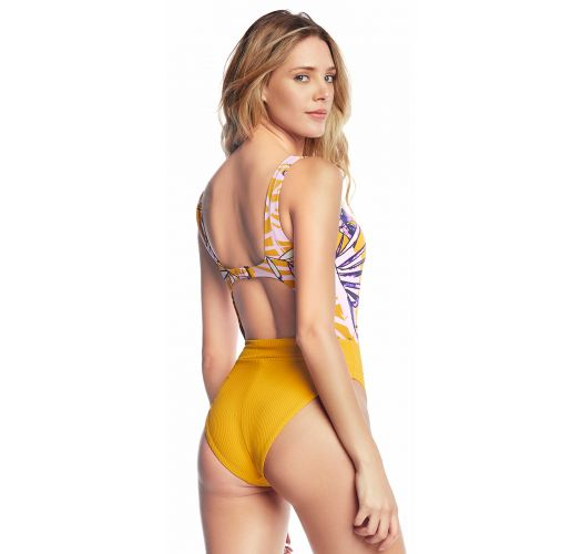 Yellow one-piece swimsuit with a print and a cutout - MARACUJÁ SHERBET