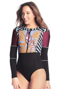 Black long sleeve surf suit in mixed print - PRETTY PRETO