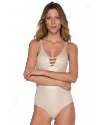 Iridescent gold one piece with criss-cross detail back - CHIEF GILT